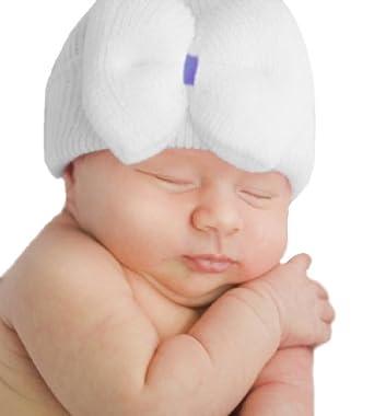 Melondipity Girls White Bow Beanie Newborn Baby Hospital Cap Hat - Purple Ribbon