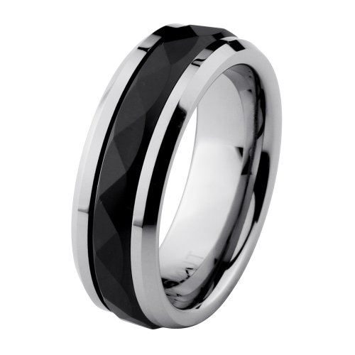 8mm Faceted Black Stripe Center Cobalt Free Tungsten & Seramic COMFORT-FIT Wedding Band Ring for Men (Size 9 to 14) - Size 10.5