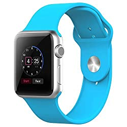 Amanstino Apple Watch Band,soft Silicone Replacement Sport Wristbands Straps for Apple Watch 38mm (Blue)