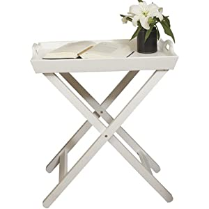 Phoenix 145103we mesa auxiliar de madera con bandeja color blanco hogar - Amazon mesa auxiliar cocina ...