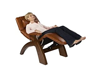 PC-075 Power Electric Recline Perfect Zero Gravity Chair Recliner PC-75 DARK WALNUT Wood with Espresso Leather by Human Touch