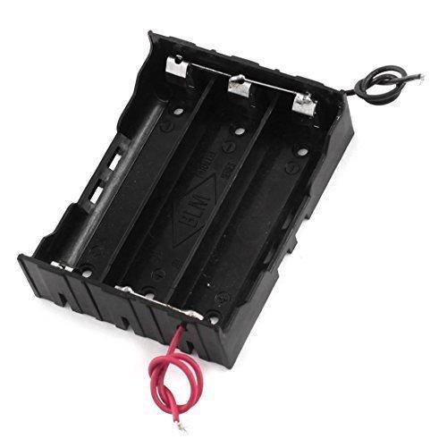 Plastique Noir 3 Fente 2 Fils 3 x 3.7V Batterie 18650 Support Récipient