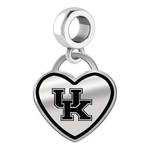 University of Kentucky Wildcats Border Heart Dangle Charm Fits All Beaded Charm Bracelets