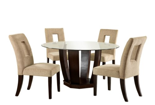 Sale furniture of america valyria 5 piece round dining for Dining table set deals