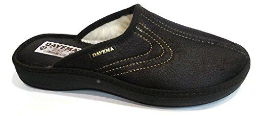 DAVEMA ciabatte pantofole lana da uomo INVERNALI mod. 1113 t.moro (42)