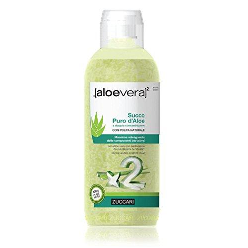 Zuccari Aloe Vera2 Succo Puro di Aloe, Doppia Concentrazione ad Azione Depurativa - 1000 ml