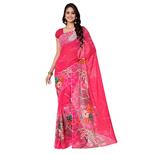 Printed Faux Georgette Casual Saree by Melluha With Blouse Piece Color Pink  available at amazon for Rs.426