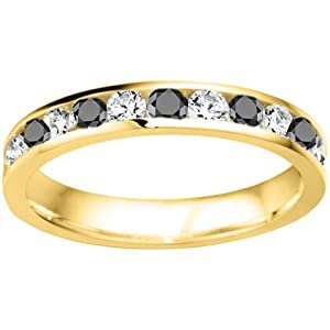 14k Yellow Gold Gorgeous Channel Set Wedding Ring set with Black And White Diamonds (0.5 ct. twt.)