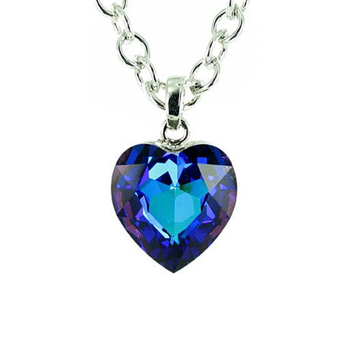 Blue On Silver Plated Titanic Style Heart Necklace