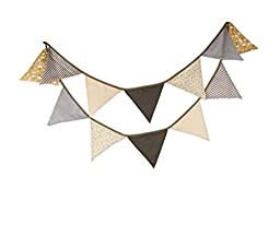 Affe Reusable Christmas Party Triangle Pennant Flag triangle Banner , Coffee