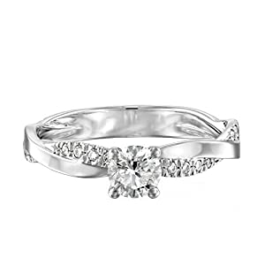 IGI Certified 14k white-gold Round Cut Diamond Engagement Ring (0.49 cttw, I Color, SI1 Clarity)