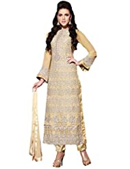 Suchi Fashion Beige Embroidered Straight Fit Georgette Semi Stitched Suit