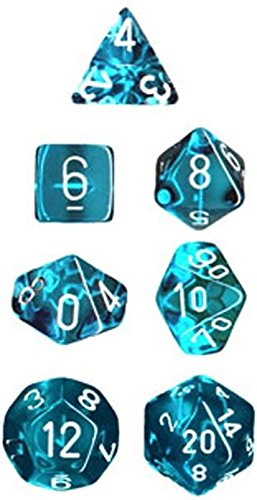 Chessex Manufacturing 23015 7-Die Polyhedral Set Teal With White Translucent - 1