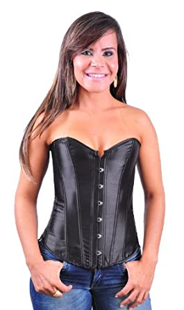 Corset Buy Simple Black Satin Overbust Corset - XL (black)