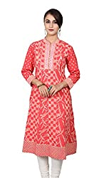 Red and off white Printed Anarkali Kurta