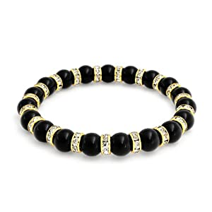 Bling Jewelry 8mm Black Onyx Gold Rondelle With Crystal Stretch Bracelet 7.5 Inch