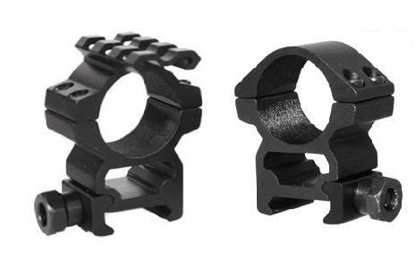 "Ultimate Arms Gear Tactical Machined Aluminum Pair Of 1"" Medium Profile See Through Scope Rings With1 Ring Featuring Back Up Sight Light Laser Tactical Top Rail"
