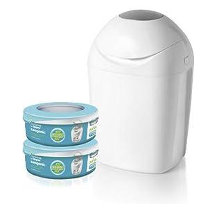 Sangenic MK4 Hygiene Plus+ - Cubo para pañales con sistema de enrollado individual antiolores con cierre hermético, incluye 2 cápsulas de bolsas