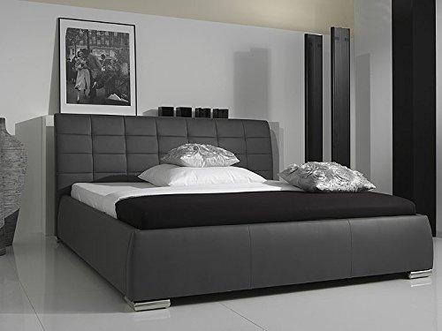 Bett Polsterbett grau Clark Bettgestell in verschiedenen Größen Kunst-Lederbett Ehebett, Größe:160 x 200