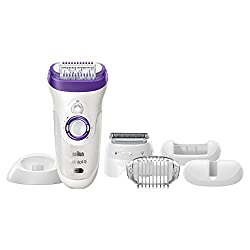 Braun 9 9-561 Silk Epil Wet and Dry Cordless Epilator for Women (White/Violet)