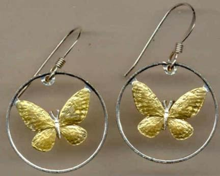 Philippines 25 Sentimos ÒButterflyÒ Two Toned Coin Cut Out Earrings