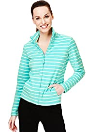 Funnel Neck Wide Striped Fleece Jacket