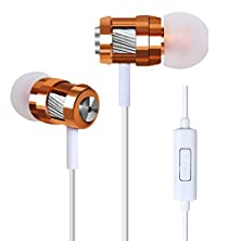 buy Kasstino Enhanced Bass Hi-Fi Earphone Earbud Headset Cool Built-In Mic & In-Line Control (Gold)