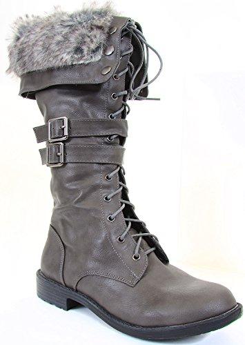 Fur Cuff Lace up Straps Combat Vegan Knee Boot Grey