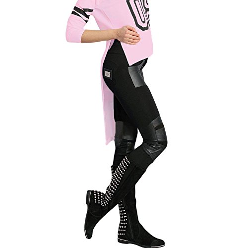 meinice Stampa Elegante Rosa a maniche lunghe Retro Shirt Pink Medium
