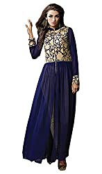 Darkstone Fab Navy Georgette Dress Material