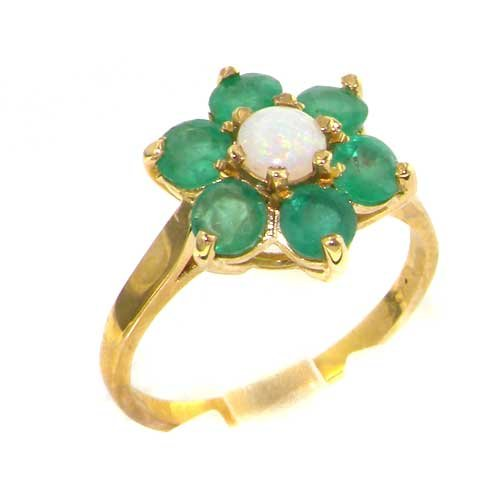 Solid 9ct Gold Ladies Stunning Luxury Fiery Opal & Emerald Cluster Ring - Size P - Finger Sizes K to Y Available - Suitable as an Anniversary, Engagement or Eternity ring