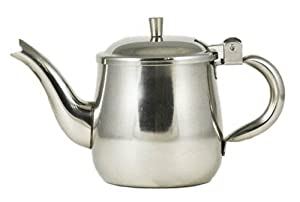 10 oz. (Ounce) Gooseneck Single-Serving Teapot, 18 8 Gauge Stainless Steel by Update International