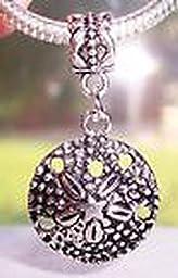 Pugs & Pandoras Sand Dollar Shell Seashell Beach Dangle Bead fits Silver European Charm Bracelet PP21194