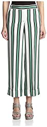 Salvatore Ferragamo Women's Striped Wide Leg Pants, White/Black/Green, 42