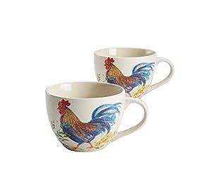 Paula Deen Garden Rooster 2-pc. Stoneware Mug Set