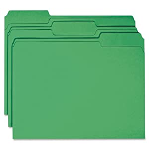 Smead File Folder, Reinforced 1/3-Cut Tab, Letter Size, Green, 100 per Box (12134)