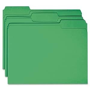 Smead File Folder, Reinforced 1/3-Cut Tab, Letter Size, Green, 100 per Box (12134)
