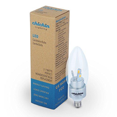 Chichinlighting® 1-Pack E12 3W Led Light Bulb Lamp Candelabra Bulb Chandelier Light Candle Bulb Warm White 2750-3000K Bullet Top