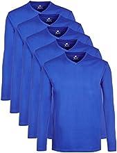 Lower East Herren Langarmshirt mit V-Auschnitt für Sport & Freizeit, 5er Pack, Gr. XXX-Large, Blau
