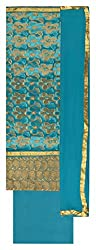Punjaban Boutique Women's Cotton Unstitched Dress Material (Blue and Golden)
