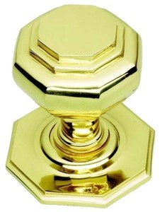 Polished Brass Octagonal Centre Pull Door Knob / Handle (PB15A) by OriginalForgery