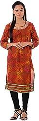 Kaashvi Creations Women's Cotton Straight Kurta (99901000000177-M, Red, Medium)