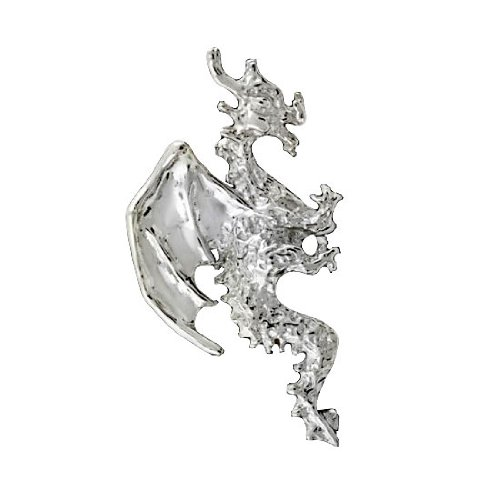 Right Only Sterling Silver Pierceless Flying Horned Dragon Ear Cuff
