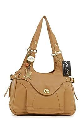 Catwalk Collection Leather Shoulder Bag - Roxanna - Tan Leather