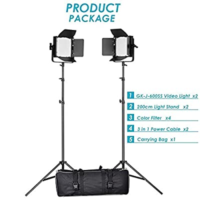 Neewer® Double Dimmable Ultra High Power 600 LED Barndoor Continuous Lighting Video Panel Kit for Sony, Canon, Panasonic, Hitachi, Samsung and Other Digital Camera / Camcorder
