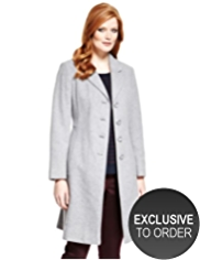 Plus Wool Blend Notch Lapel Long Coat with Cashmere