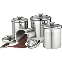 Tramontina Gourmet 18/10 Stainless Steel 8-Piece Canister and Scoops Set with Glass Lids