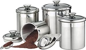 Tramontina 80204/522 Gourmet 18/10 Stainless Steel 8-Piece Canister and Scoops Set with Glass Lids
