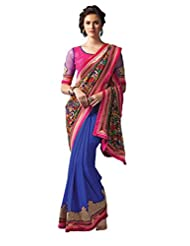 Anvi Creations Digital Printed Embroidered Georgette Blue Pink Saree (Blue_Free Size) - B00TO882C2