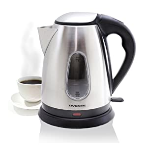 Ovente KS93 1.7L Brushed Stainless Steel Cordless Electric Kettle
